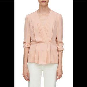 NWOT Pink Silk Georgette Faux Wrap Top